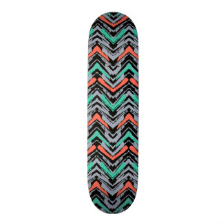 Gray, Teal, And Coral Hand Drawn Chevron Pattern Skateboard