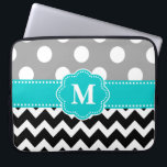 "Gray Teal Black Chevron Monogram Laptop Sleeve<br><div class=""desc"">Show off your personal style in a fun way with this gray,  black and teal chevron and polka dots monogram laptop case.</div>"