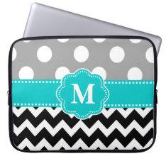 Gray Teal Black Chevron Monogram Laptop Sleeve at Zazzle