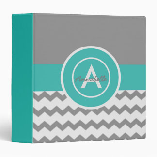 Gray Teal Chevron Binder