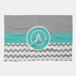 Gray Teal Chevron Kitchen Towel