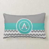 Gray Teal Chevron Lumbar Pillow