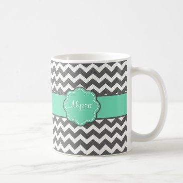 Coffee Themed Gray Teal Chevron Personalized Mug