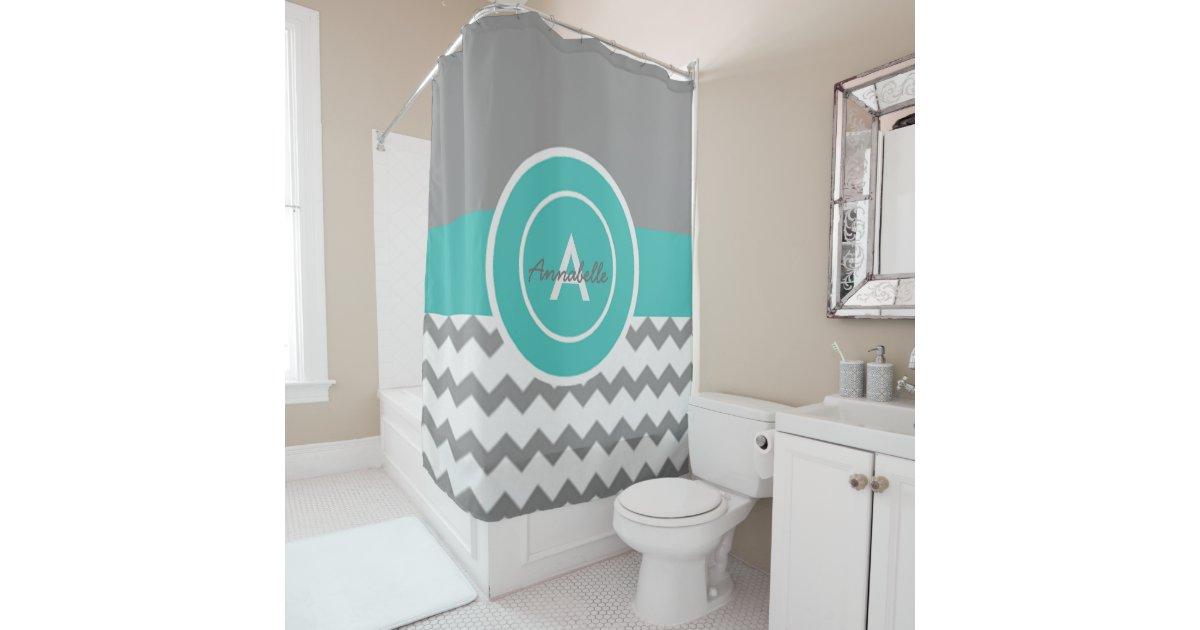 Amazon Cafepress Teal Grey Dots Shower Curtain Three Elephants Teal And White Chevron On Grey