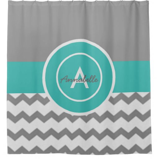 Gray Teal Chevron Shower Curtain