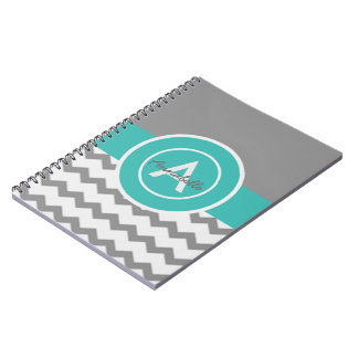 Gray Teal Chevron Spiral Notebook