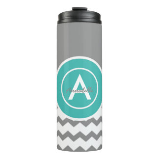 Gray Teal Chevron Thermal Tumbler