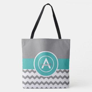 Gray Teal Chevron Tote Bag