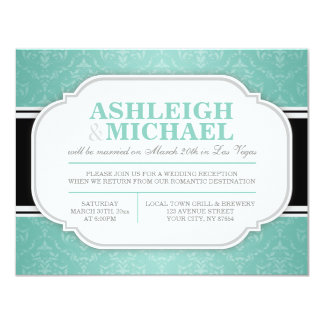 Gray & Teal Damask Wedding Reception ONLY Card
