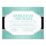 Gray & Teal Damask Wedding Reception ONLY Invites
