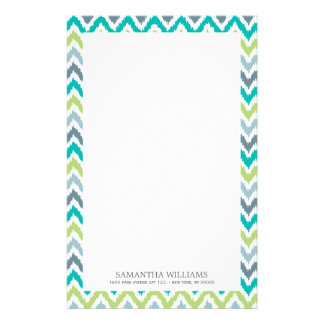 Gray Teal Green Zigzag Ikat Pattern Stationery Paper