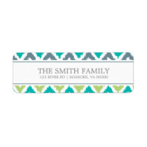 Gray Teal Green Zigzag Tribal Pattern Label