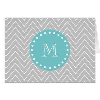 Gray & Teal Modern Chevron Custom Monogram Card
