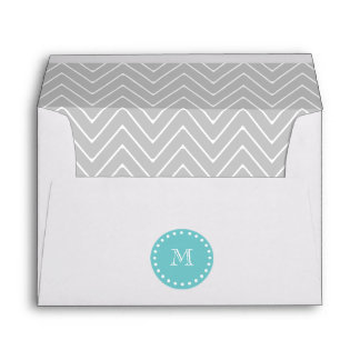 Gray & Teal Modern Chevron Custom Monogram Envelope