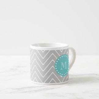 Gray & Teal Modern Chevron Custom Monogram Espresso Cup