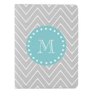 Gray & Teal Modern Chevron Custom Monogram Extra Large Moleskine Notebook