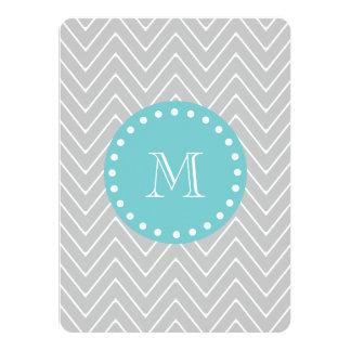 Gray & Teal Modern Chevron Custom Monogram 5.5x7.5 Paper Invitation Card