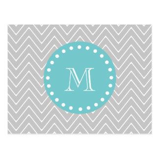 Gray & Teal Modern Chevron Custom Monogram Postcard