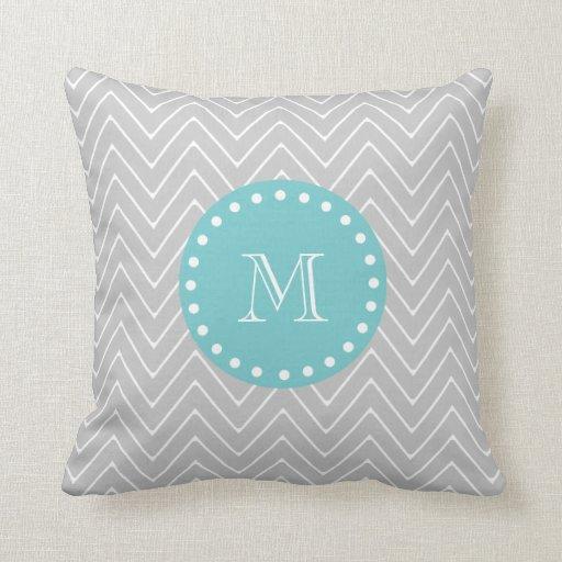 Modern Initial Pillow : Gray & Teal Modern Chevron Custom Monogram Throw Pillows Zazzle