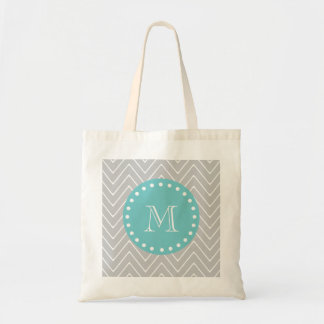 Gray & Teal Modern Chevron Custom Monogram Tote Bag