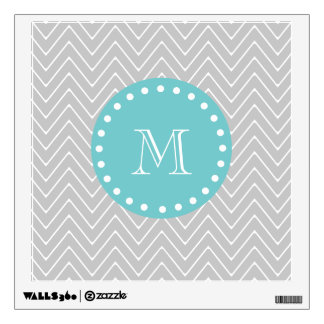 Gray & Teal Modern Chevron Custom Monogram Wall Sticker