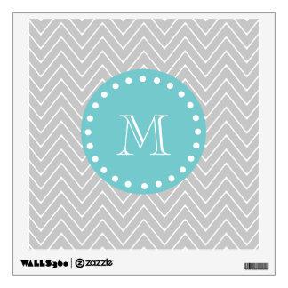 Gray & Teal Modern Chevron Custom Monogram Wall Sticker