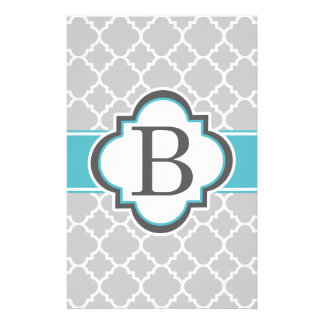 Gray Teal Monogram Letter B Quatrefoil Stationery