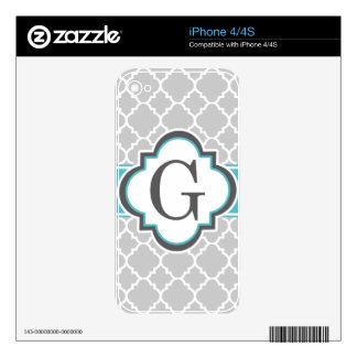 Gray Teal Monogram Letter G Quatrefoil Decals For iPhone 4S
