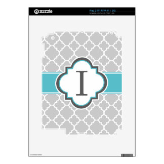Gray Teal Monogram Letter I Quatrefoil Decals For The iPad 2