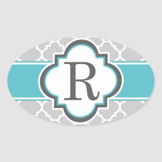 Gray Teal Monogram Letter R Quatrefoil Oval Sticker