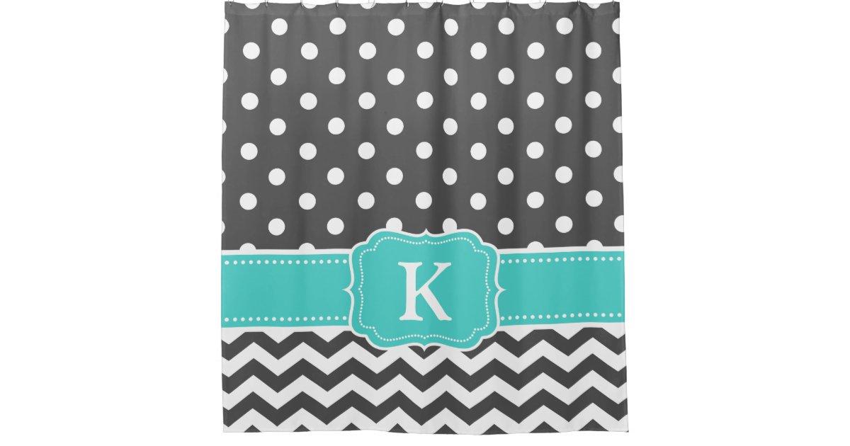 Gray Teal Polka Dots Chevron Monogram Initials Shower Curtain Zazzle