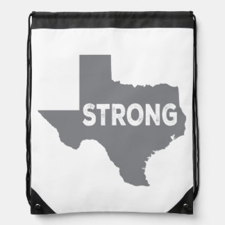 Gray Texas State Strong Drawstring Bag