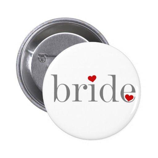 Gray Text Bride 2 Inch Round Button