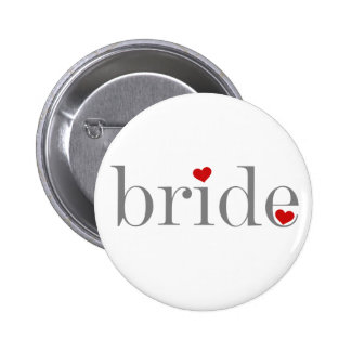 Gray Text Bride Pinback Button