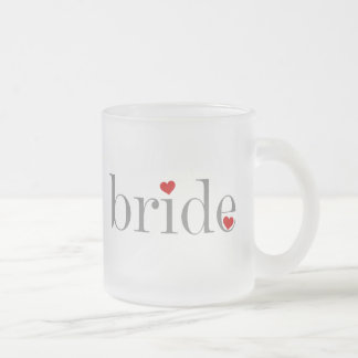 Gray Text Bride Frosted Glass Coffee Mug