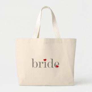 Gray Text Bride Large Tote Bag