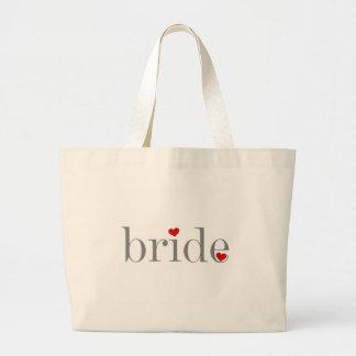 Gray Text Bride Large Tote Bag