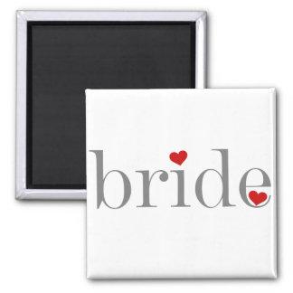Gray Text Bride Fridge Magnet