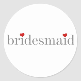 Gray Text Bridesmaid Round Stickers