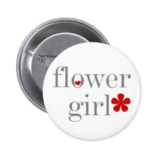 Gray Text Flower Girl 2 Inch Round Button