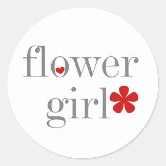Gray Text Flower Girl Classic Round Sticker