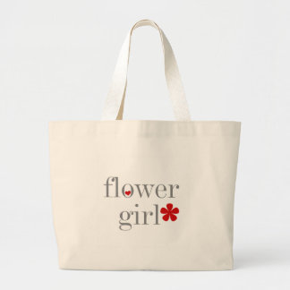 Gray Text Flower Girl Large Tote Bag