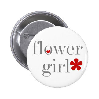 Gray Text Flower Girl Pinback Button