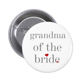 Gray Text Grandma of Bride Pinback Buttons