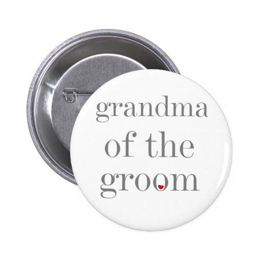 Gray Text Grandma of Groom Pinback Buttons