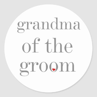 Gray Text Grandma of Groom Classic Round Sticker