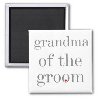 Gray Text Grandma of Groom Refrigerator Magnets