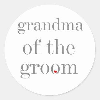 Gray Text Grandma of Groom Classic Round Sticker