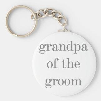 Gray Text Grandpa of Groom Keychain