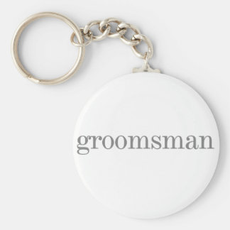 Gray Text Groomsman Basic Round Button Keychain